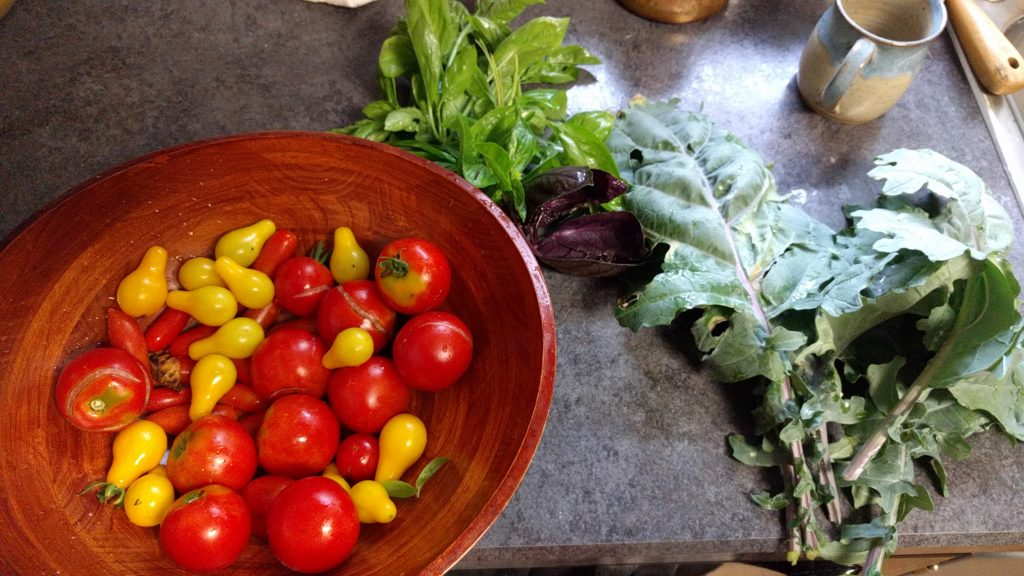 A wooden bowl of tomatoes, clippings of kale and basil are beside it.